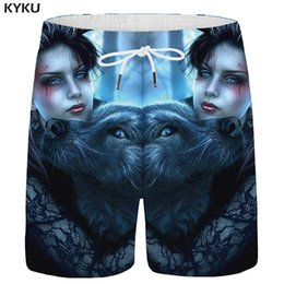 $enCountryForm.capitalKeyWord Australia - KYKU Wolf Shorts Men Animal Beauty Casual Short Pants Character 3d Printed Shorts Beach Forest Anime Mens Summer Big Size