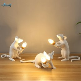 $enCountryForm.capitalKeyWord Australia - Creative Resin White Mouse Table Lamps for Living Room Bedroom Study Bedside Lamps Kids Night Light Art Deco Led Light Fixture