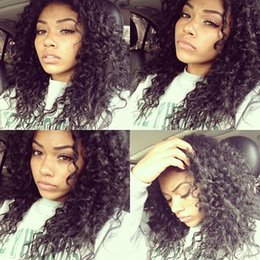 Japanese fiber wigs online shopping - Japanese Heat Resistant Fiber Long Black Curly Synthetic Wigs Black Brown Afro Kinky Loose Curly Synthetic Lace Front Wig