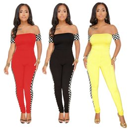 a31d253e868f 2018 Fashion Checkerboard Plus Size Sexy Jumpsuit Off Shoulder Casual Full  Bodysuit Summer Overalls Rompers Womens Jumpsuit