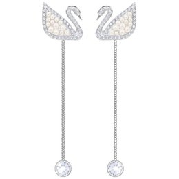 17861aaa2 2018 New Silver Swan Full Diamond Pearl Tassel Earrings Women Classic Prom  Jewelry High Quality Boutique Free Shipping Swa