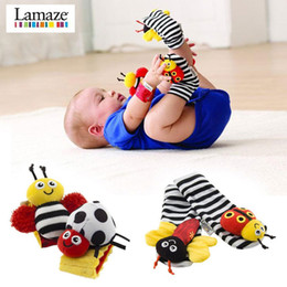 Baby Rattles Australia - 2018 sozzy Wrist rattle & foot finder Baby toys Baby Rattle Socks Lamaze Plush Wrist Rattle+Foot baby Socks 600pcs