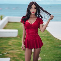 6d5f5211d808 Sexy red Swim dreSS online shopping - 2019ss New One Piece Swimwear Sexy  Plus Large Size