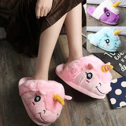 Discount kids indoor shoes - Unicorn Plush Slippers Blue Pink Purple Kids Parents Winter Indoor Home Shoes Warm Soft Cotton Shoes