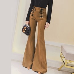 52a64327d4343 Women Stretch flared trousers Spring Autumn High waist Casual flared  trousers Bell bottom pants Plus size pantalon femme