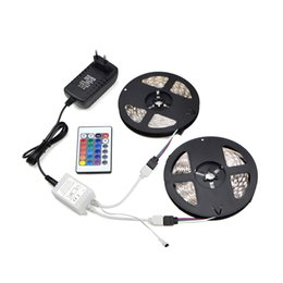 Diode Controller UK - 1Set SMD5050 2835 5M 10M LED Light Strip Flexible LED Light 300 LEDs Tape Diode Ribbon With IR Controller DC12V 3A EU Adapter