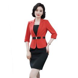 3aea0cc0cdc women office dress suits plus size elegant black pencil dress and blazer  half sleeve summer bodycon office set 2018