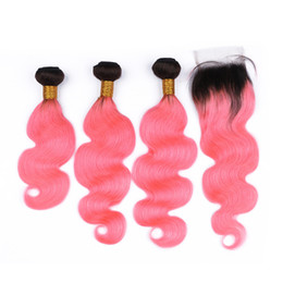 wavy human hair bundles closure UK - #1B Pink Dark Root Ombre Brazilian Human Hair Weaves with Closure Ombre Pink Virgin Hair Bundles Body Wave Wavy with 4x4 Lace Closure