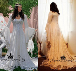 4162bd0e00a7 Vintage Lace Gothic Overskirts Wedding Dresses 2018 Plus Size A Line Bell  Long Sleeve Bridal Gowns Renaissance Medieval halloween