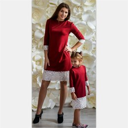 Stock Clothes Winter Australia - Mother Daughter Dress 2018 Hotsale Lace patchwork Half sleeve Knee-length Mom And Me matching Dresses family clothing In stock
