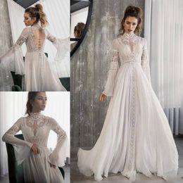 Customized Skirts NZ - Riki Dalal 2019 Beach Chiffon Wedding Dresses High Neck Long Sleeves Lace Appliqued Boho Customized vestido de novia A Line wedding dress