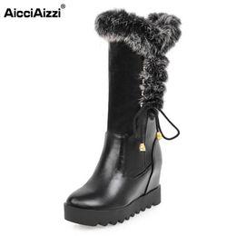 48afa6da344 AicciAizzi Size 33-43 Women Wedges Boots Cross Strap Half Short Boots Warm  Shoes Inside Heel Mid Calf Botas For Women Footwears
