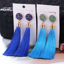 Hocole Bohemian Crystal Tassel Earrings Black White Blue Red Pink Silk  Fabric Long Drop Dangle Tassel Earrings For Women Jewelry 10pairs 8b5f998d43ec