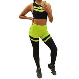 Discount strip women top - Women Yoga Fitness Print Strip Suit Set Breathable Sports Vest Top Bra High Waist Elastic Leggings Gym Tracksuit Sportsw