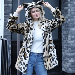 719c41dab77 Winter Warm Parkas Jacket Thick Faux Fur Long Coat Animal Ear with Hooded  Leopard Fur Overcoat Women Outwear Plus Size 4X 6Q2367