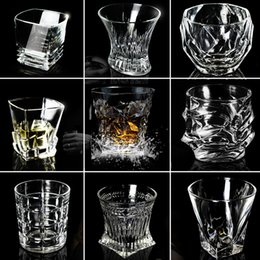 Lead free gLass online shopping - Creative Wine Glasses Beer Whiskey Lead free Thickened Liquor Cup Foreign Wine Cocktail Tumbler Rum Scotch Diamond Water Cup Home