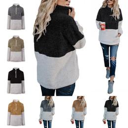 a93897c2105 Moda con cremallera suéter invierno mujer con cuello en v manga larga  chaqueta Nueva Sherpa Hoodie Multi Color 29 5yy C