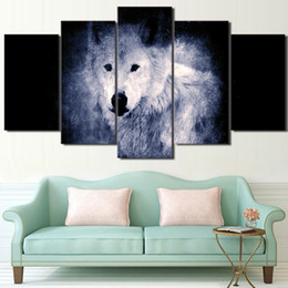 $enCountryForm.capitalKeyWord NZ - High Quanlity Canvas Painting Picture Modern 5 Pieces Pcs White Wolf In Dark HD Printed Wedding Decoration Frame For Living Room