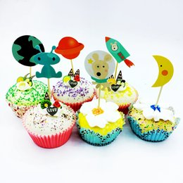 $enCountryForm.capitalKeyWord Australia - NEW 720pcs Moon Earth Spaceship rocket robot dog Cupcake Toppers Pick Party Cake Decoration Supplies Wedding Kids Birthday gifts
