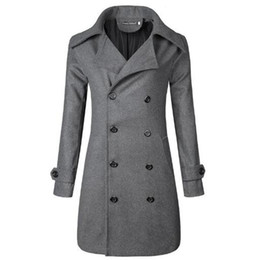 stand cloth 2019 - New 2018 Men's Boutique Fashion Pure Color Leisure In The Stand Collar Long Woolen Cloth Dust Coat   Mens Jacket ch