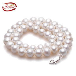a015c5dce61f Blanco redondo collar de perlas naturales de agua dulce mujeres joyas finas  collar de plata 925 perlas cultivadas genuino collar de perlas D1892005