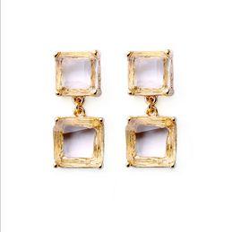 Crystals Souvenir Australia - Classic Style Gold Plated Artificial Crystal Diamond Gemstone Dangle Pendant Stud Earrings for Women Lady Girl Souvenir