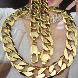 Mens Hip Hop Jóias 18 K Yellow Gold Filled Cubano Curb Elo Da Cadeia Colar + Conjuntos de Pulseira (24