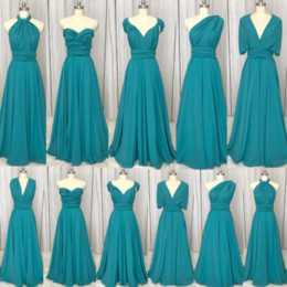 bridesmaid real picture NZ - Real Picture Convertible Bridesmaid dress Green Pleats Chiffon A Line Floor Length Maid Of Honor Dresses Cheap
