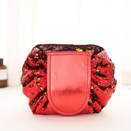 Body wash towel online shopping - Sports Glittering Mermaid Sequin Wash Bags Travel Lazy Cosmetic Bag Rope Pulling Sports Towel Large Capacity Outdoor Storage String Bags