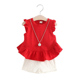 red tutu 2t UK - Girls Fashion Clothing Sets Summer Baby Girls Clothes Kids Clothing Sets Sleeveless T-Shirt + White Shorts 2Pcs Suits
