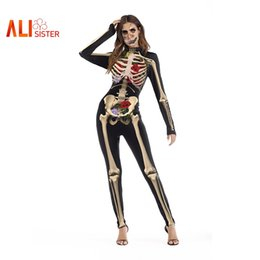 88085033cdf4 ALIsister Women's Jumpsuits Rose Skull Skeleton Printed Rompers Hip Hop  Bodycon Jumpsuit Halloween Clothing Femme Sexy Playsuits hip hop sexy  jumpsuits ...