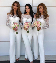 Blue Plus Size Jumpsuit Australia - 2018 Fashion Bateau Lace Jumpsuit Bridesmaid Dresses for Wedding Sheath Back zipper Wedding Guest Pants Suit Gowns Plus Size