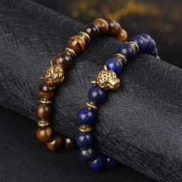 Buddha head tigers eye online shopping - RUIMO Gold Leopard Head Tiger Eye Bead Buddha Bracelet For Men Women Fashion Male Punk Jewelry Bracelets Bangle Unisex