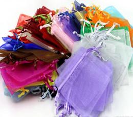 100 Morceau / Lot Organza Bijoux Pochette Cadeau Sacs Pour le mariage faveurs, perles, bijoux sac Sacs de bonbons paquet sac mélanger couleur Favor Favorers