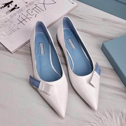 Discount blue pointed bow flats - Women slingbacks Leather ballet flats with bow Pointed Toes genuine leather Designer shoes Size 35-39 40(Custom size) mo