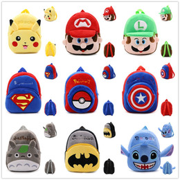 mini mario toys 2019 - 21*23.5CM My Neighbor Totoro Pikahcu Super Mario Cartoon Mario Luigi Plush Backpack Spider-man Toy Mini School Bag Child