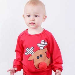 Boys red coats online shopping - Baby Christmas Sweater Pullover Reindeer Plush Nose Elk Printed Newborn Boy Designer Clothes Autumn Winter Coat Kids Boutique Tops Tees