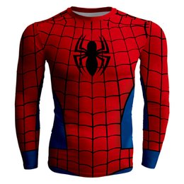 $enCountryForm.capitalKeyWord NZ - Men's fashion creativity red t-shirt tights tee superhero Spider-Man sport long sleeves cycling fast dry basketball vest