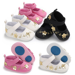 Toddler Moccasins Wholesale Australia - Fashion 0-18M Sweet Newborn Baby Girls Flower Shoes Toddler Nonslip Soft sole Kids Crib shoes First Walkers moccasins