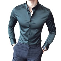 e7518c1335 Camisa Masculina Social Slim Fit Blalck Green White Shirt Men Vintage  Business Casual Male Shirt Solid Formal Shirts For Men 5xl