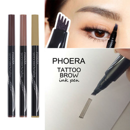 eyebrow ink pen Canada - 4 Head Eyebrow PHOERA Patented Microblading Tattoo Eyebrow Ink Pen Eye Brow Makeup Pencil
