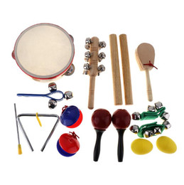 drums musical instruments for kids 2020 - 16Pcs Musical Instrument Set 10 Kinds Kindergarten Tambourine Drum Percussion Toys for Kids Children Baby Early Educatio
