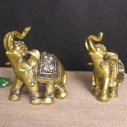 $enCountryForm.capitalKeyWord Australia - 2pcs Resin Golden Elephant Decorative Figurine Resin Elephant Figures Home Decoration Accessories Miniature Garden