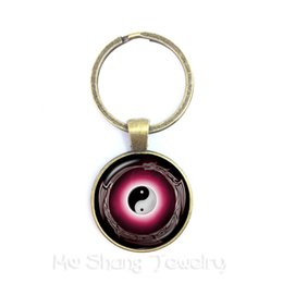glass yin 2019 - 25mm Classic Handmade Keychains Yin-yang Skulls Wicca Gifts Cabochon Witchcraft High Quality Keyring Jewelry For Men Wom
