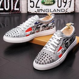 Silver Falls Australia - 2018 New Style Fasion Men red Silver black Serpentine rivet lace-up flats shoes Luxury Man Moccasins Loafers Shoe High quality Footwear G104