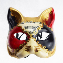 sexy cat masks Canada - Hanzi_masks Retro Italy Venetian Style Masquerade Mask Handmade Cosplay Cat Half Face Prom Ball Shows Party mask For Men Women sexy