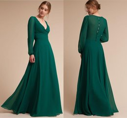 bc37992568f Simple Style Hunter Green Sexy Prom Dresses Vintage V Neck Chiffon Floor  Length Button Back Long Evening Gowns Cheap
