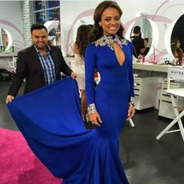 $enCountryForm.capitalKeyWord NZ - 2018 High Neck Royal Blue Mermaid Evening Dresses With Gold Applique Lace Spandex Long Sleeved Party Prom Gowns Special Occasion Dress