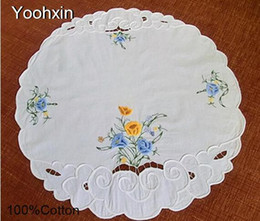 $enCountryForm.capitalKeyWord NZ - 3D Pastoral cloth floral embroidery placemat 58cm cotton coffee coaster dining table place mat doily Christmas pad Cover towel