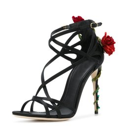 red flowering vines NZ - Manual customization summer rose vines crystal high heel women sandals satin flower narrow band stiletto shoes women luxury